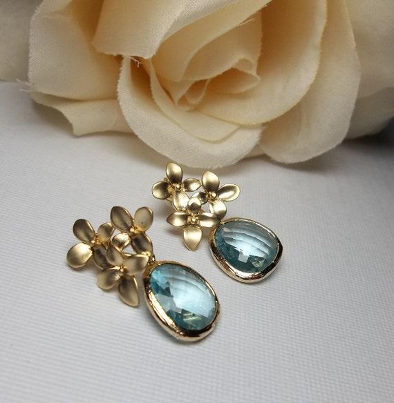 Aquamarine earrings - Gold - Cubic Zirconia - Jewelry - Elegant - Bridesmaids - Bridal jewelry