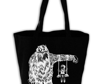 Monster Camouflage Black Canvas Grocery Tote Bag