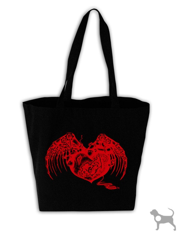 Steampunk Heart Black Canvas Grocery Tote Bag
