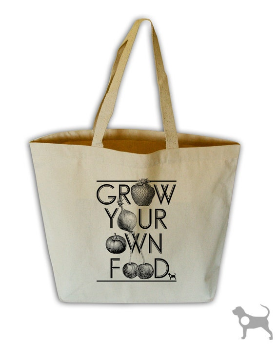 Grow Your Own Food Natural Canvas Grocery Tote Bag