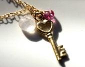 Customized Gift. Love Unlocked. Gold Key Charm Necklace. Rose Quartz. Pink Topaz.