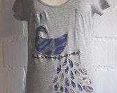 Peacock  (size  38-40) - reverse applique  T-shirt