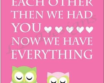 Owl Girl Nursery Print, Pink and Green Nursery Decor, Woodland Girl Nursery Decor - 8x10