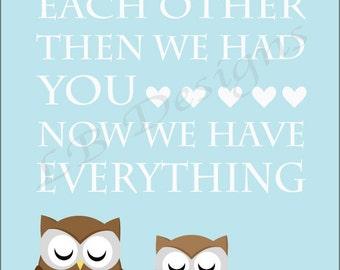 Blue and Brown Nursery, Owl Nursery Print, Woodland Nursery Decor - 8x10