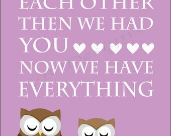 Girl Woodland Nursery Decor, Girl Owl Nursery Art, Purple Nursery Decor, Girl Woodland Bedroom Print, Gift for New Baby, Girl Owl Bedroom