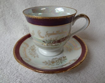 Vintage Lusterware Teacup and Saucer Burgundy and Gold