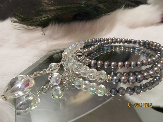 Crystal Heart and Freshwater Pearl Necklace - ON SALE NOW - valued at 25.00