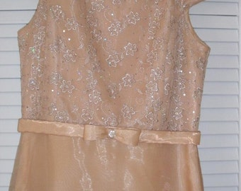 Audrey Hepburn Style /Girls 14/ FAIRY DRESS/MIDCENTURY/Gold and Crystals Gown by Jessica McCLINTOCK /1970'S Vintage /Size 0