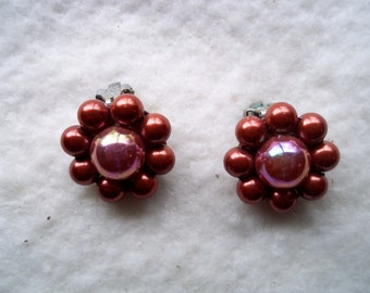 Vintage Rosy Pink Beaded Earrings