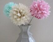 Paper Pom-Pom Flower Stems - 5 Piece Set - Your Choice of Colors - Pom Poms - Centerpiece, Paper Flowers