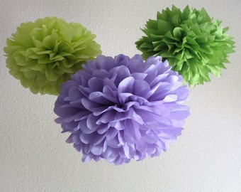 3 Pom Poms - Lavender Rose Tissue Paper Pom Poms - More Colors Available