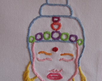 Made to Order-Hand Embroidered Buddha Tea Towel