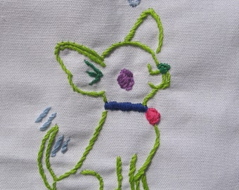 Made to order-Hand Embroidered peace Chihuahua Tea Towel
