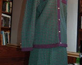 Green and Navy Houndstooth Boucle suit from Tanner
