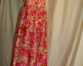 1960's De Weese Sunwear/Swimwear Pink Floral Maxidress