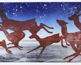 Deer Woodcut with Monotype