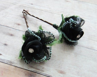 Fairytale Black Satin Flower Hair Pins. Vintage Weddings, Everyday Sparkle, Bridesmaids, floral hair clip, Flower Hair Pins - Set of 2