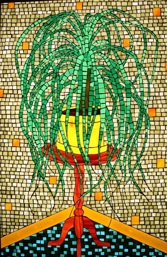 Items Similar To Mosaic Stained Glass Plant Original