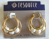 Vintage Gold n Pearl Hoop Earrings, Triple Hoops w 8mm Pearls Inside, Excellent Condition, Womens Jewelry