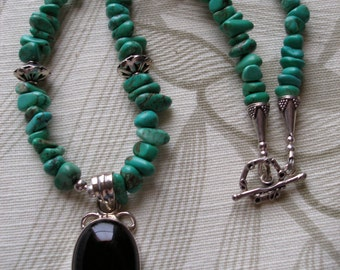 Necklace Black Onyx Pendant w Green Turquoise & Bali Sterling Silver, Womens Jewelry Handmade