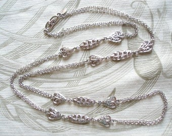 Vintage Signed Roget Hearts Necklace in Silver, Womens Jewelry, Excellent Condition