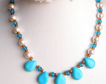 Turquoise Necklace with Pearl & Silver, Pretty Blues, Womens Jewelry  ON SALE