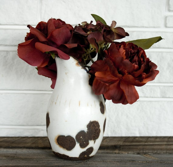 Rustic Prim Enamel Pitcher, White Vintage Enamel, Farmhouse, Rusty- Black Accents, Shabby Chic Garden Planter Pot