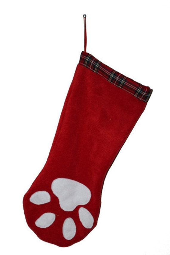 Dog Paw Print Christmas Santa Stocking