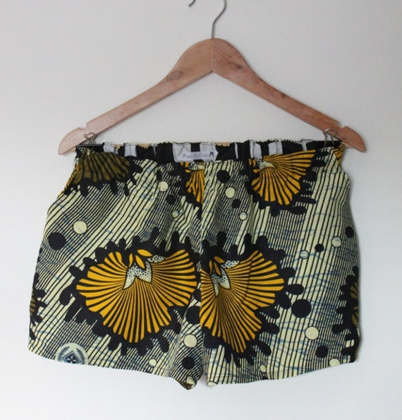 Yellow Green Large Flowers African print fabric Elastic Shorts with front pockets - Size Medium (UK12)