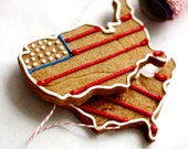 USA Decorated Gingerbread Cookies - American Flag Patriotic Edibles