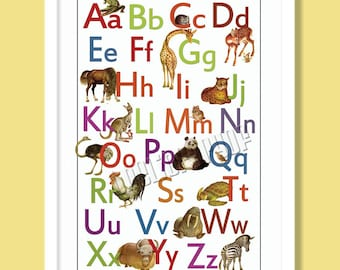 Animal Alphabet  Poster  - ABC Room Decoration - Upper and lower case, Great Baby Shower Gift - Boy or Girl