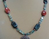 Multi Colored Jasper and Copper Tree Pendant Necklace, One of a Kind