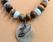 Mexican Agate Necklace and Translucent Agate Pendant, One of a Kind
