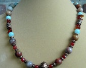 Amazonite and Antiqued Copper Necklace, One of a Kind