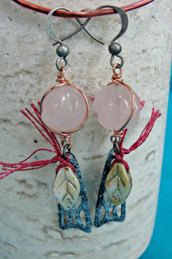 Copper Wire Wrapped Carved Rose Quartz Green Glass Leaves and Gunmetal, One of a Kind