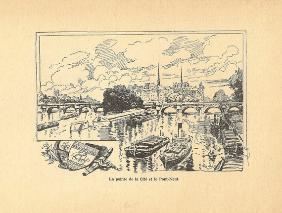 Antique French home decor bank of the Seine in Paris poster black and white illustration print - France - 1920s