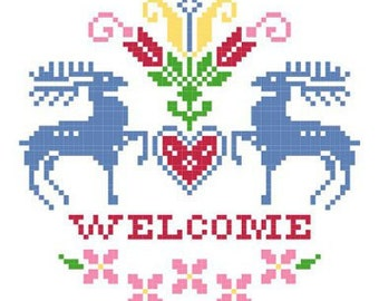 Welcome Flowering Heart Cross Stitch Pattern - Primary Colorway with Deer and Flowers ** Instant Download PDF