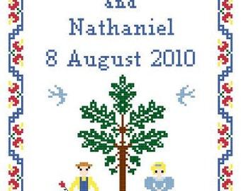 Flower Garden Wedding Sampler Cross Stitch Pattern - Couple under Oak Tree ** Instant Download PDF