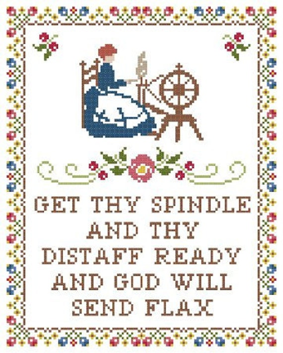 Spinning Wheel Sampler Cross Stitch Pattern ** Instant Download PDF