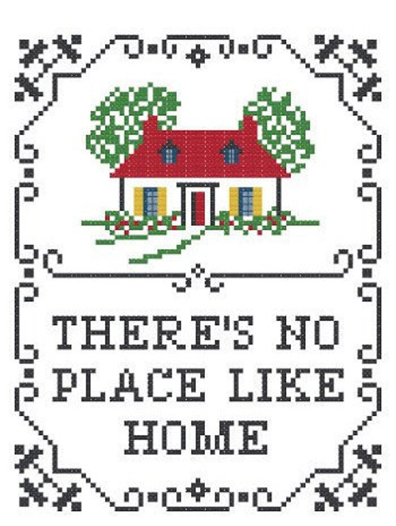 There's No Place Like Home Cross Stitch Sampler Pattern - Multicolor - PDF Instant Download