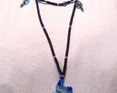 Lampwork Pendant Necklace Blue Moonlight, Black, Silver and Copper. N058