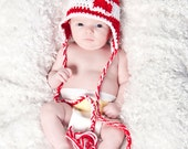 3-6 months Crocheted Photo Prop Red and White Heart Valentine 15 in. Hat - IN STOCK