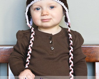 12-24 Months Crochet Photo Prop Light Pink, Dark Brown, and White Girl 17 in. Hat - IN STOCK