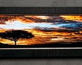 "Acacia Tree silhouette at Sunrise - Masai Mara Kenya - 8"" x 24"" or 12"" x 36"" Framed Fine Art"
