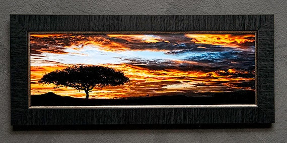 "Acacia Tree silhouette at Sunrise - Masai Mara Kenya - 8"" x 24"" or 12"" x 36"" Framed Fine Art"