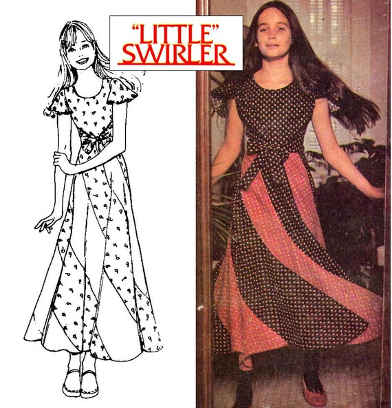 70s Boho Girls 'Little Swirler' Skirt and Wrap Top Sewing Pattern McCall's 3990 Size 12, Breast 30