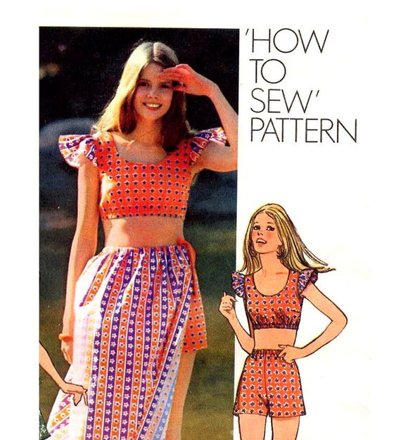 Vintage 1970s Boho Bare Midriff Top, Shorts and Skirt Sewing Pattern Tie On Drawstring Skirt 'How To' Simplicity 9284 Size Med