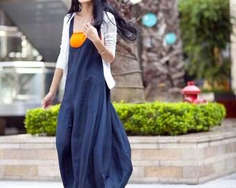 Graceful Navy Blue Vest Shape Sweep Long Dress- NC015