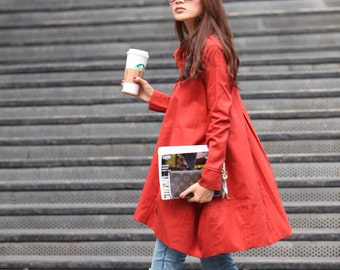 Spring Dress Long Sleeve Dress Shirt Loose Fitting Blouse Long Shirt Dress in Orange Red - NC325