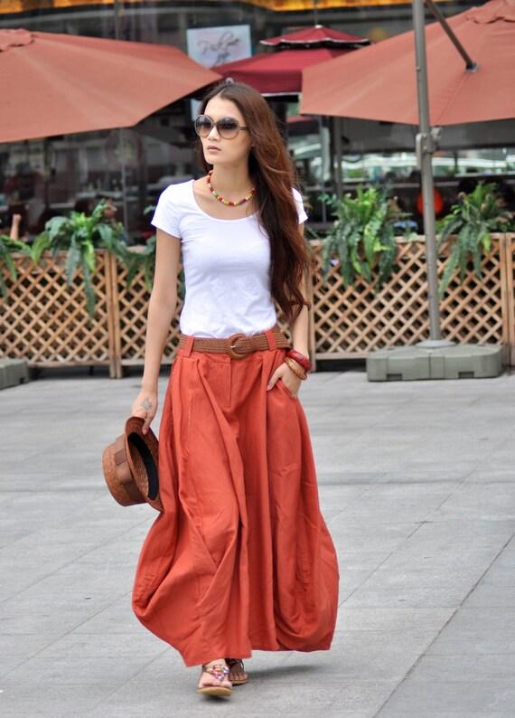 Boho Maxi Skirt Lagenlook Sexy Bud Long Skirt in Dark Orange - NC023